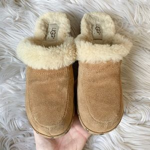 UGG Shoes - Ugg Kalie Sherpa-Lined Suede Wood Clogs Mules 5
